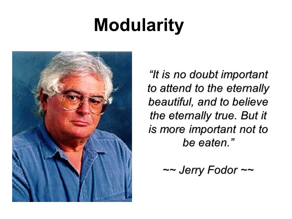 The Modularity of Mind An Essay on Faculty Psychology (MIT Press, 1983) Zwei verschiedene Verarbeitungssysteme: 1.Sensorische Input-Module (perceptual input systems) 2.Zentrale konzeptuelle Verarbeitung (central conceptual processes) Jerry Fodor
