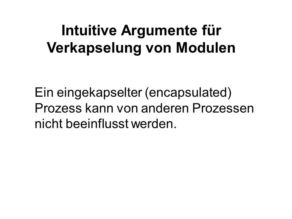 Intuitive Argumente für Verkapselung von Modulen Ein eingekapselter (encapsulated) Prozess kann von anderen Prozessen nicht beeinflusst werden.