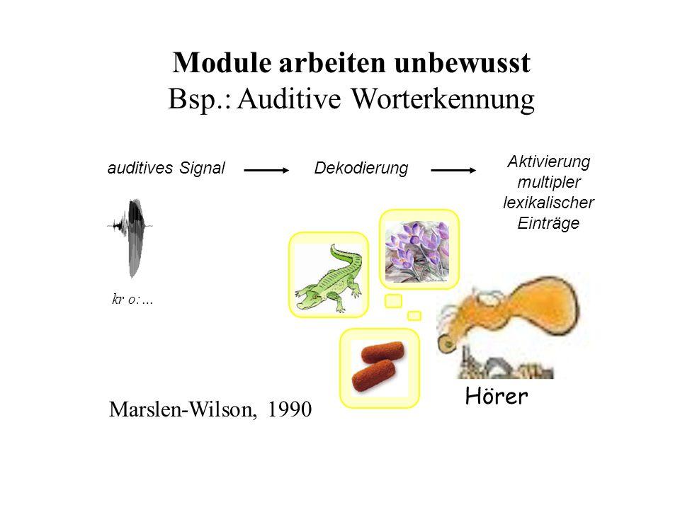 auditives Signal kr o:… k s Ω Dekodierung Aktivierung multipler lexikalischer Einträge Hörer Module arbeiten unbewusst Bsp.: Auditive Worterkennung Ma
