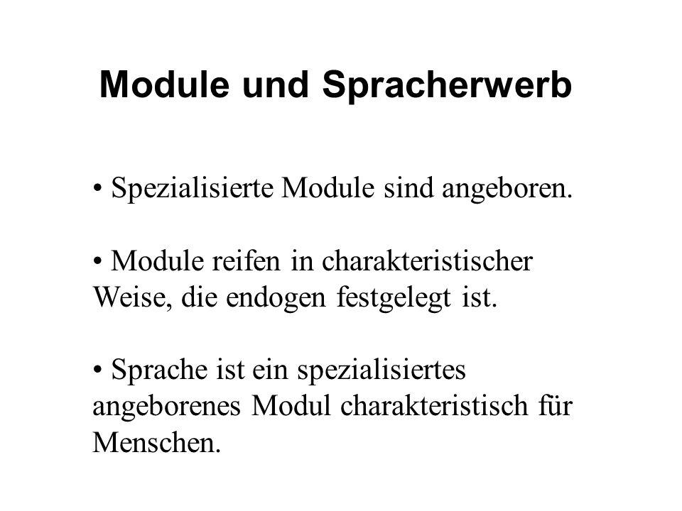 Module und Spracherwerb Spezialisierte Module sind angeboren. Module reifen in charakteristischer Weise, die endogen festgelegt ist. Sprache ist ein s