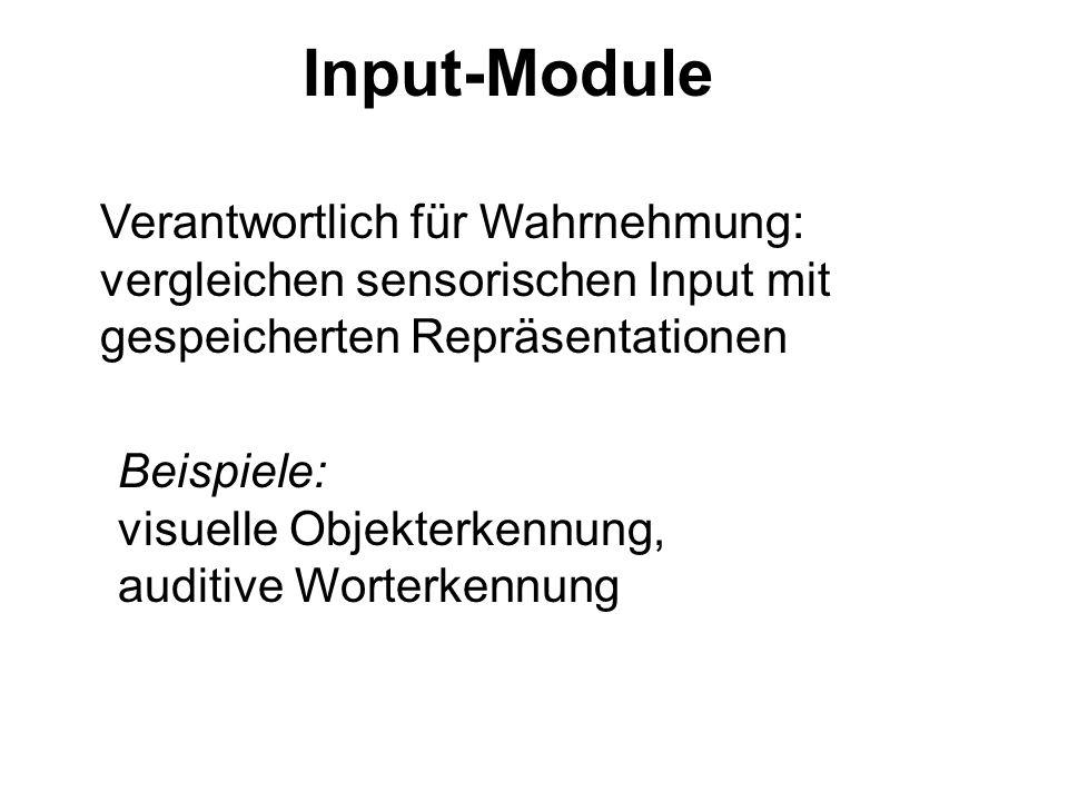 Input-Module Verantwortlich für Wahrnehmung: vergleichen sensorischen Input mit gespeicherten Repräsentationen Beispiele: visuelle Objekterkennung, au
