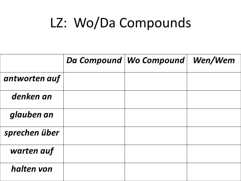 LZ: Wo/Da Compounds Da CompoundWo CompoundWen/Wem antworten auf denken an glauben an sprechen über warten auf halten von