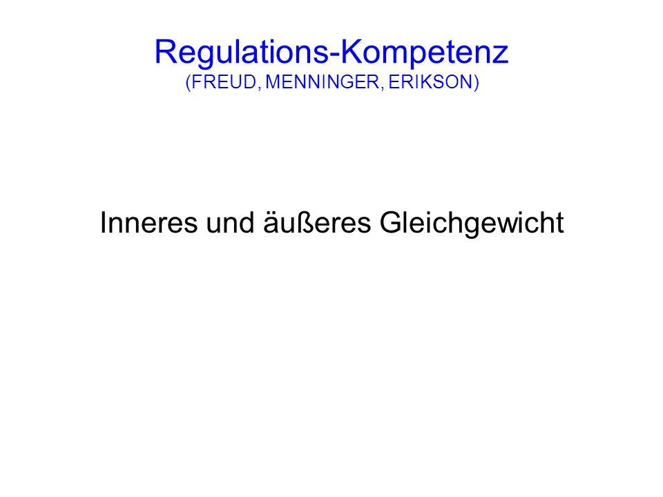 Regulations-Kompetenz (FREUD, MENNINGER, ERIKSON) Inneres und äußeres Gleichgewicht