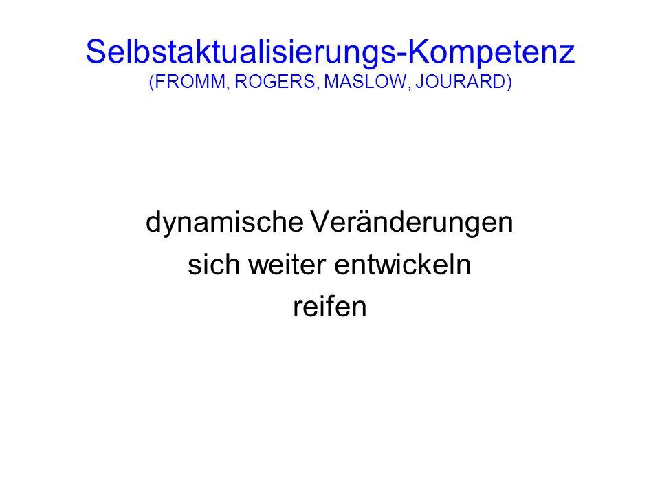 Selbstaktualisierungs-Kompetenz (FROMM, ROGERS, MASLOW, JOURARD) dynamische Veränderungen sich weiter entwickeln reifen