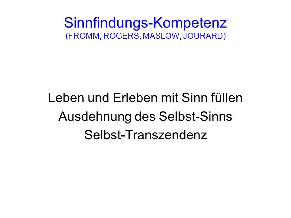 Sinnfindungs-Kompetenz (FROMM, ROGERS, MASLOW, JOURARD) Leben und Erleben mit Sinn füllen Ausdehnung des Selbst-Sinns Selbst-Transzendenz