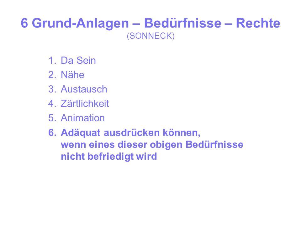 6 Grund-Anlagen – Bedürfnisse – Rechte (SONNECK) 1.Da Sein 2.Nähe 3.Austausch 4.Zärtlichkeit 5.Animation 6.Adäquat ausdrücken können, wenn eines dieser obigen Bedürfnisse nicht befriedigt wird