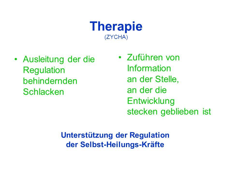 Therapie (ZYCHA) Ausleitung der die Regulation behindernden Schlacken Zuführen von Information an der Stelle, an der die Entwicklung stecken geblieben ist Unterstützung der Regulation der Selbst-Heilungs-Kräfte