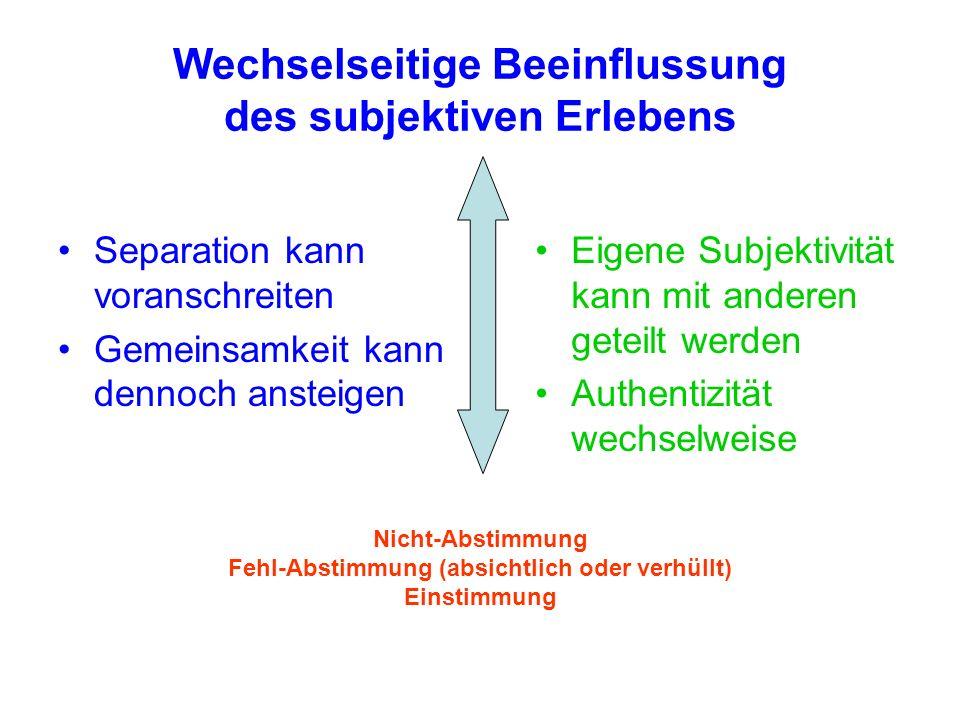 Wechselseitige Beeinflussung des subjektiven Erlebens Separation kann voranschreiten Gemeinsamkeit kann dennoch ansteigen Eigene Subjektivität kann mit anderen geteilt werden Authentizität wechselweise Nicht-Abstimmung Fehl-Abstimmung (absichtlich oder verhüllt) Einstimmung