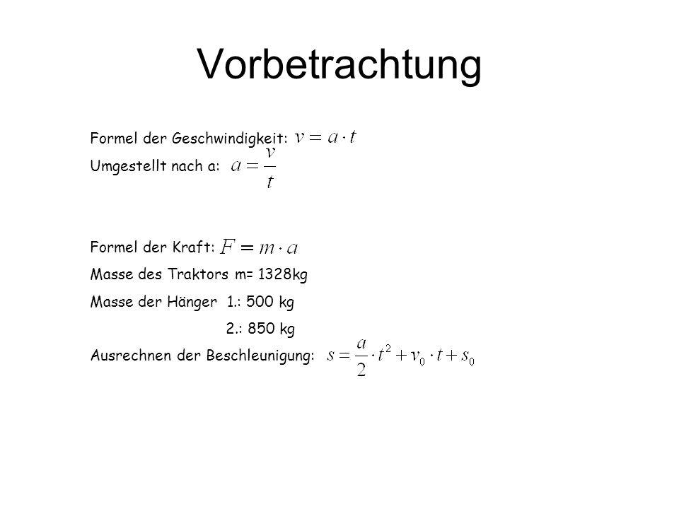 Vorbetrachtung Formel der Geschwindigkeit: Umgestellt nach a: Formel der Kraft: Masse des Traktors m= 1328kg Masse der Hänger 1.: 500 kg 2.: 850 kg Au