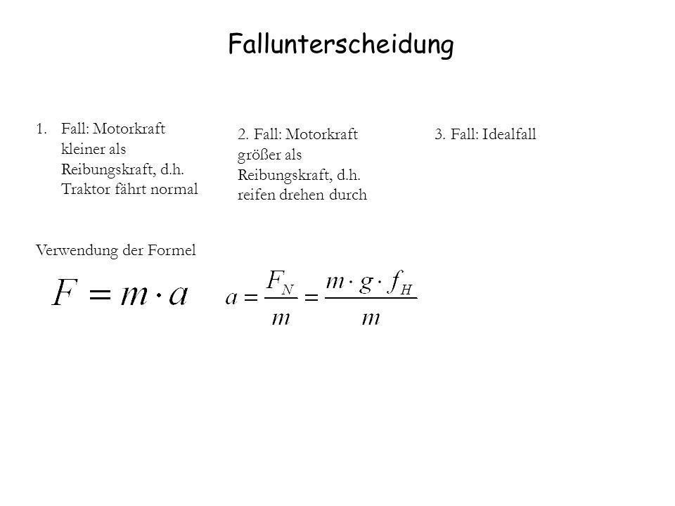 Fallunterscheidung 1.Fall: Motorkraft kleiner als Reibungskraft, d.h. Traktor fährt normal Verwendung der Formel 2. Fall: Motorkraft größer als Reibun