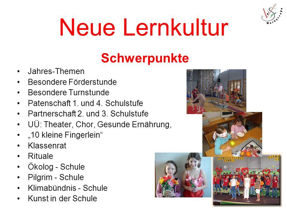 Neue Lernkultur Schwerpunkte Jahres-Themen Besondere Förderstunde Besondere Turnstunde Patenschaft 1.