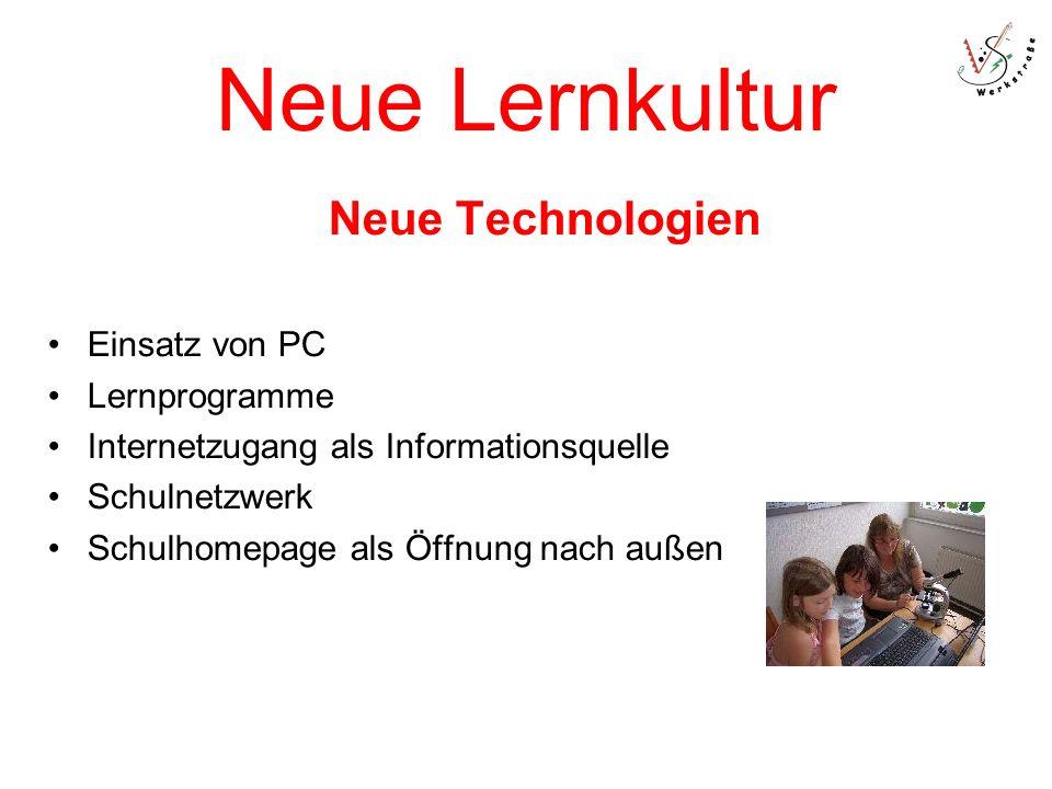 Neue Lernkultur Neue Technologien Einsatz von PC Lernprogramme Internetzugang als Informationsquelle Schulnetzwerk Schulhomepage als Öffnung nach außen