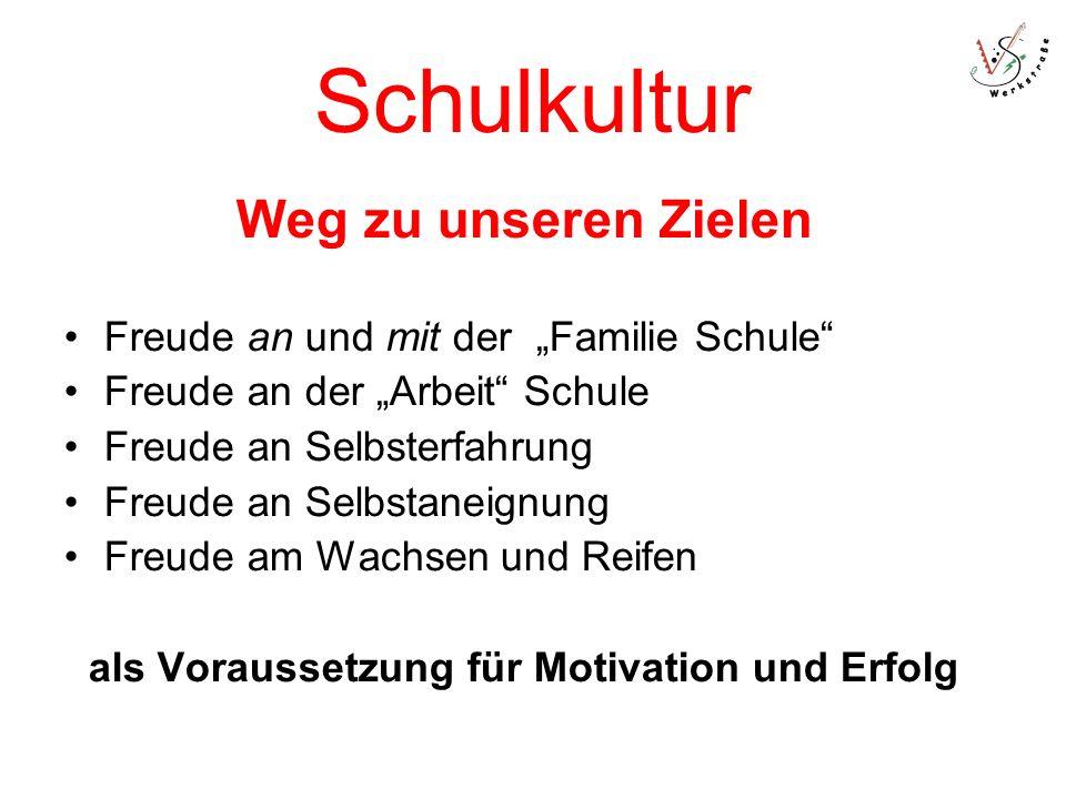 Schulkultur Weg zu unseren Zielen Freude an und mit der Familie Schule Freude an der Arbeit Schule Freude an Selbsterfahrung Freude an Selbstaneignung Freude am Wachsen und Reifen als Voraussetzung für Motivation und Erfolg