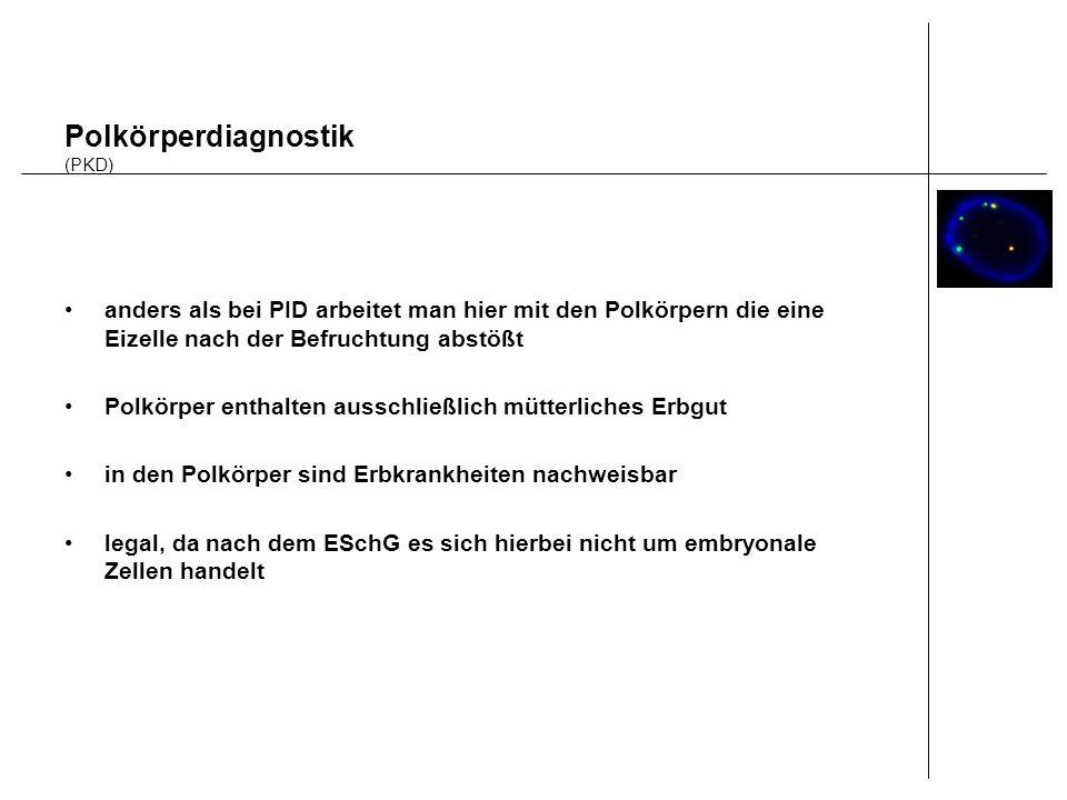 Polkörperdiagnostik (PKD) anders als bei PID arbeitet man hier mit den Polkörpern die eine Eizelle nach der Befruchtung abstößt Polkörper enthalten au