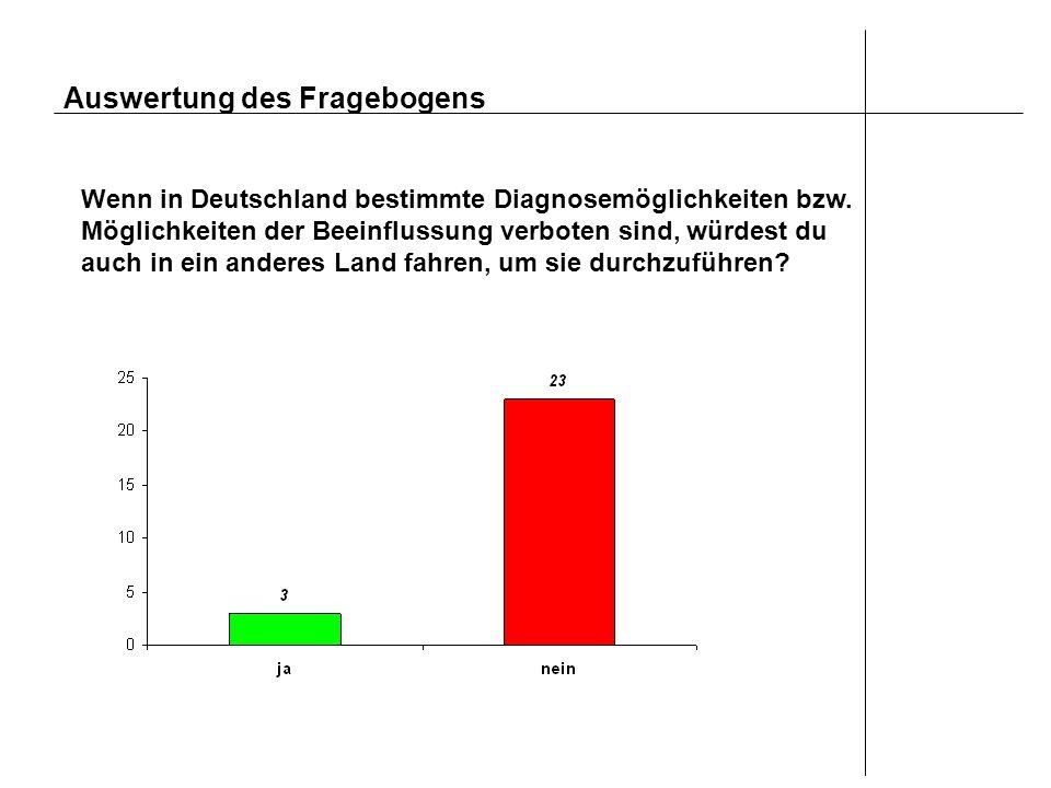 Auswertung des Fragebogens Wenn in Deutschland bestimmte Diagnosemöglichkeiten bzw. Möglichkeiten der Beeinflussung verboten sind, würdest du auch in