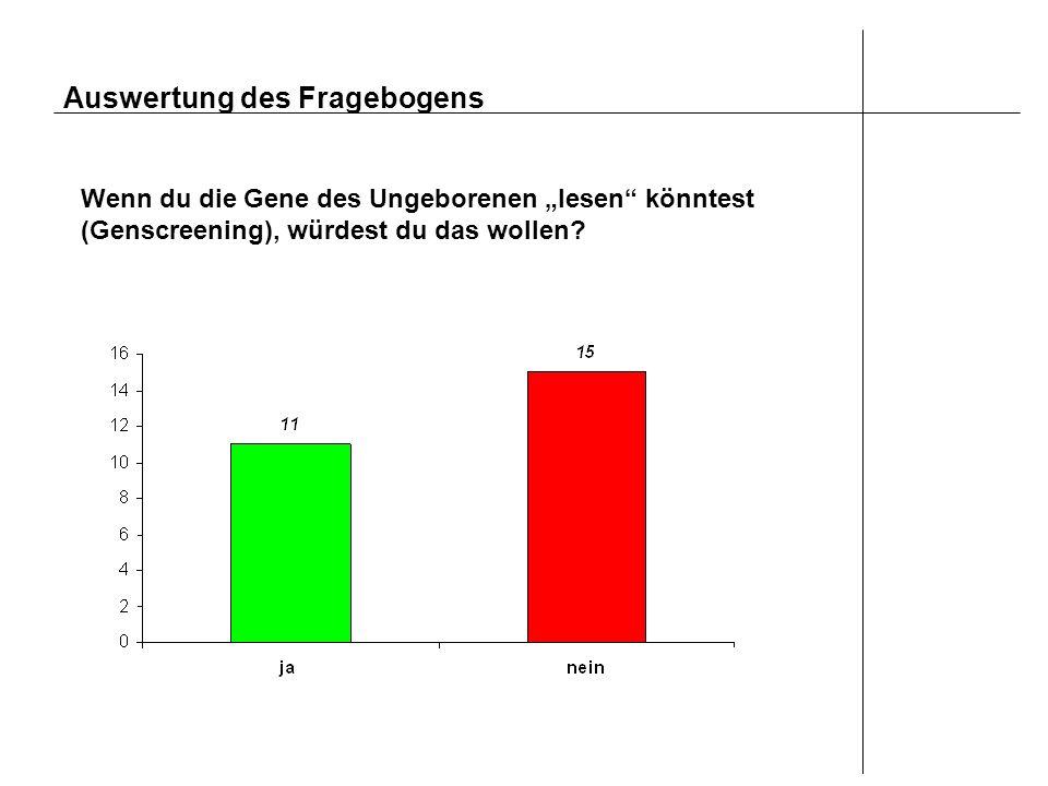 Auswertung des Fragebogens Wenn du die Gene des Ungeborenen lesen könntest (Genscreening), würdest du das wollen?