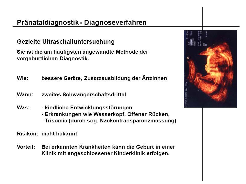 Pränataldiagnostik - Diagnoseverfahren Gezielte Ultraschalluntersuchung Sie ist die am häufigsten angewandte Methode der vorgeburtlichen Diagnostik. W