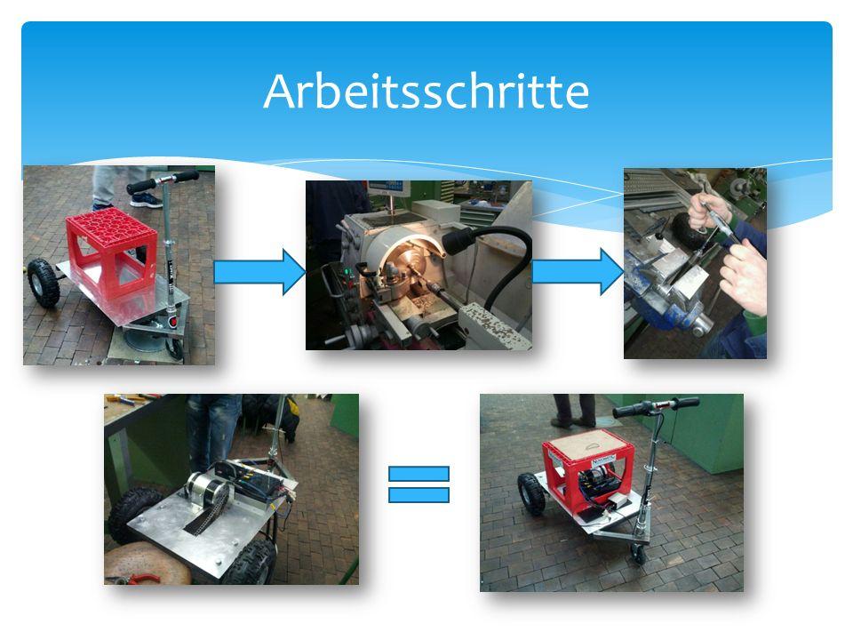 3 Akkumulatoren (in Serie) 1 Potentiometer (Regler) 1 Reihenschluss Motor Schaltplan