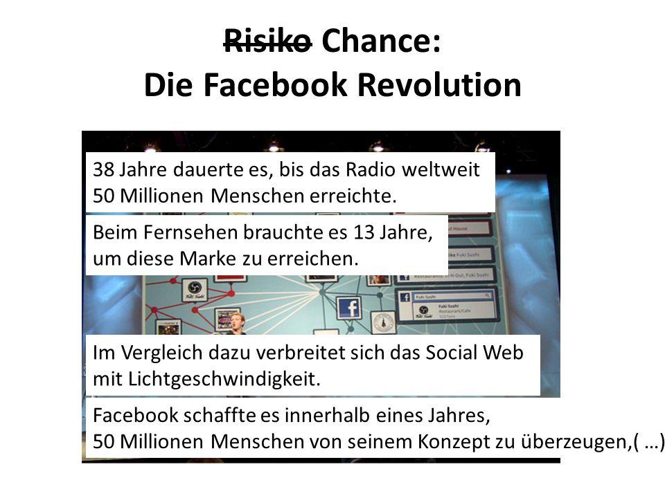 Risiko Chance: Die Facebook Revolution 38 Jahre dauerte es, bis das Radio weltweit 50 Millionen Menschen erreichte. Beim Fernsehen brauchte es 13 Jahr