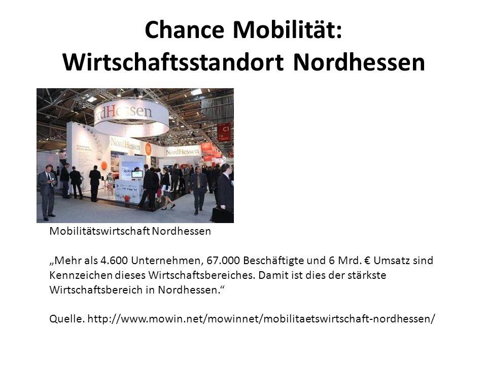 Chance Mobilität: Wirtschaftsstandort Nordhessen Mobilitätswirtschaft Nordhessen Mehr als 4.600 Unternehmen, 67.000 Beschäftigte und 6 Mrd. Umsatz sin