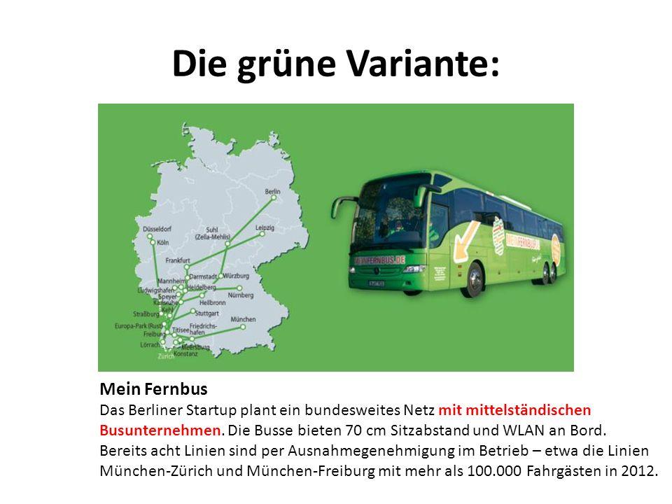 Die grüne Variante: Mein Fernbus Das Berliner Startup plant ein bundesweites Netz mit mittelständischen Busunternehmen. Die Busse bieten 70 cm Sitzabs