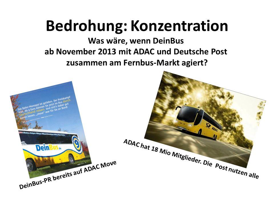 Bedrohung: Konzentration Was wäre, wenn DeinBus ab November 2013 mit ADAC und Deutsche Post zusammen am Fernbus-Markt agiert? DeinBus-PR bereits auf A