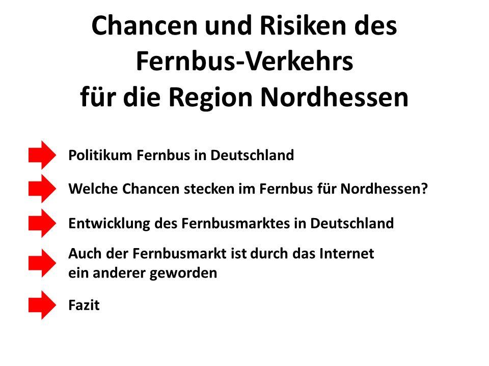 Chancen und Risiken des Fernbus-Verkehrs für die Region Nordhessen Welche Chancen stecken im Fernbus für Nordhessen? Politikum Fernbus in Deutschland