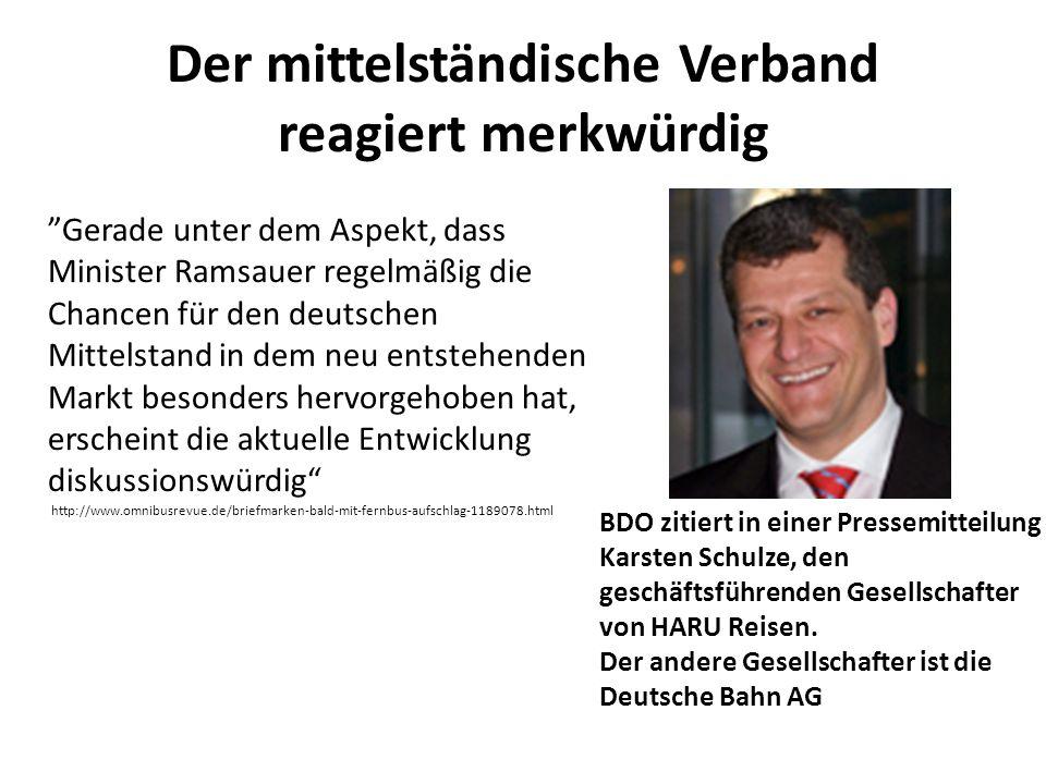 Der mittelständische Verband reagiert merkwürdig BDO zitiert in einer Pressemitteilung Karsten Schulze, den geschäftsführenden Gesellschafter von HARU