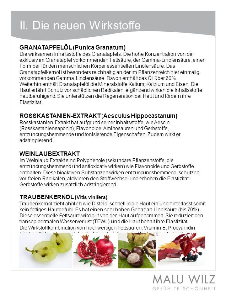 II. Die neuen Wirkstoffe GRANATAPFELÖL ( Punica Granatum) Die wirksamen Inhaltsstoffe des Granatapfels: Die hohe Konzentration von der exklusiv im Gra