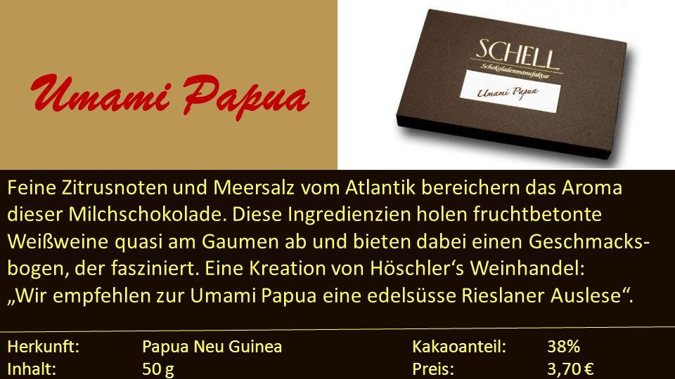 Feine Zitrusnoten und Meersalz vom Atlantik bereichern das Aroma dieser Milchschokolade. Diese Ingredienzien holen fruchtbetonte Weißweine quasi am Ga