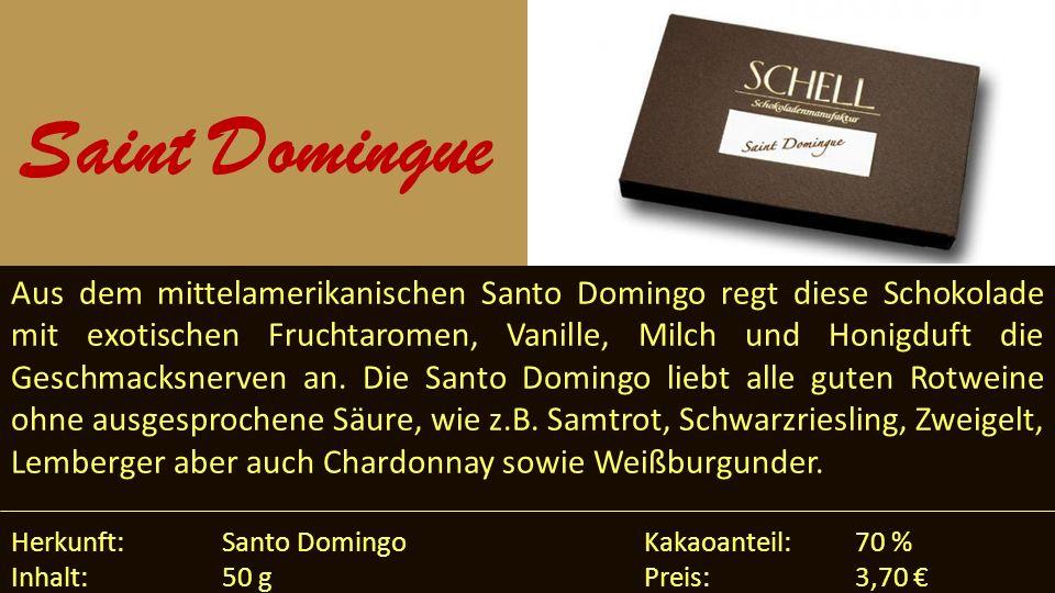 Aus dem mittelamerikanischen Santo Domingo regt diese Schokolade mit exotischen Fruchtaromen, Vanille, Milch und Honigduft die Geschmacksnerven an. Di