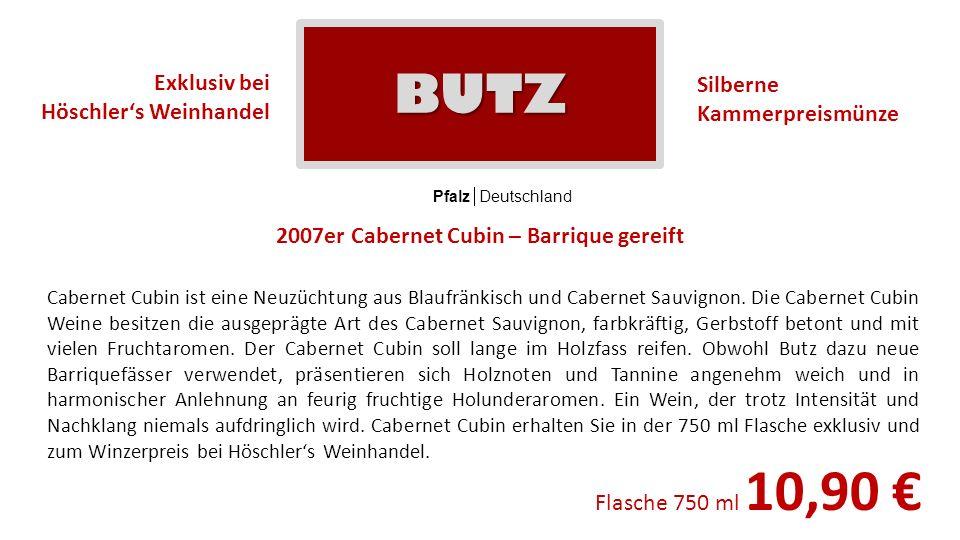 2007er Cabernet Cubin – Barrique gereift Pfalz Deutschland Cabernet Cubin ist eine Neuzüchtung aus Blaufränkisch und Cabernet Sauvignon. Die Cabernet