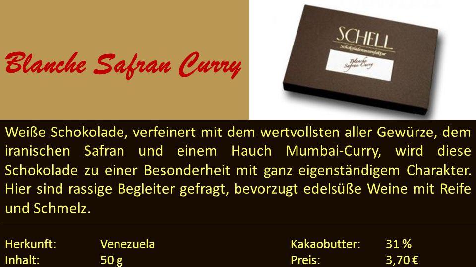 Weiße Schokolade, verfeinert mit dem wertvollsten aller Gewürze, dem iranischen Safran und einem Hauch Mumbai-Curry, wird diese Schokolade zu einer Be