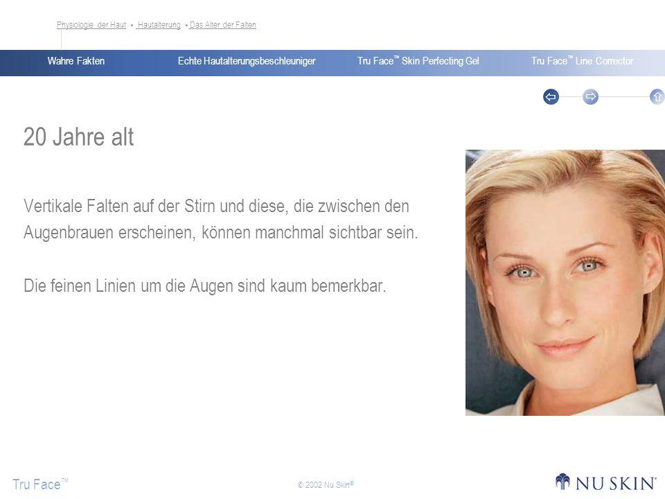 Echte HautalterungsbeschleunigerWahre FaktenTru Face Skin Perfecting GelTru Face Line Corrector Tru Face © 2002 Nu Skin ® 20 Jahre alt Vertikale Falte