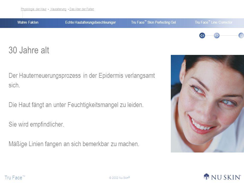 Echte HautalterungsbeschleunigerWahre FaktenTru Face Skin Perfecting GelTru Face Line Corrector Tru Face © 2002 Nu Skin ® 30 Jahre alt Der Hauterneuer
