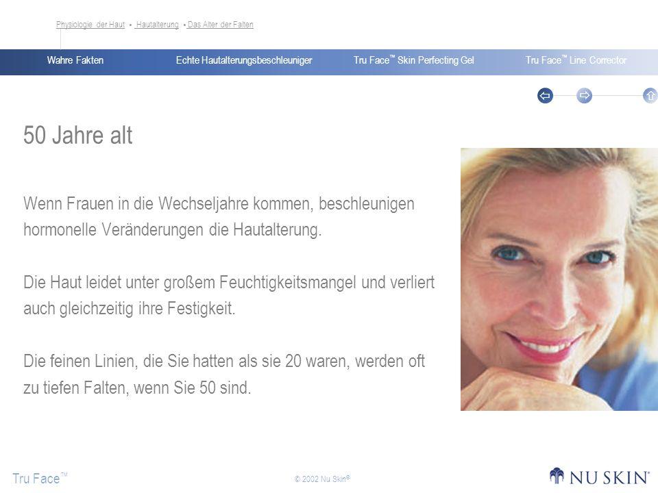 Echte HautalterungsbeschleunigerWahre FaktenTru Face Skin Perfecting GelTru Face Line Corrector Tru Face © 2002 Nu Skin ® 50 Jahre alt Wenn Frauen in