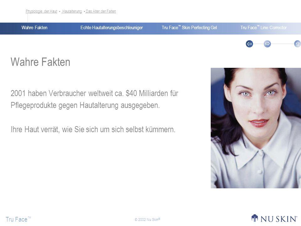 Echte HautalterungsbeschleunigerWahre FaktenTru Face Skin Perfecting GelTru Face Line Corrector Tru Face © 2002 Nu Skin ® Wahre Fakten 2001 haben Verb