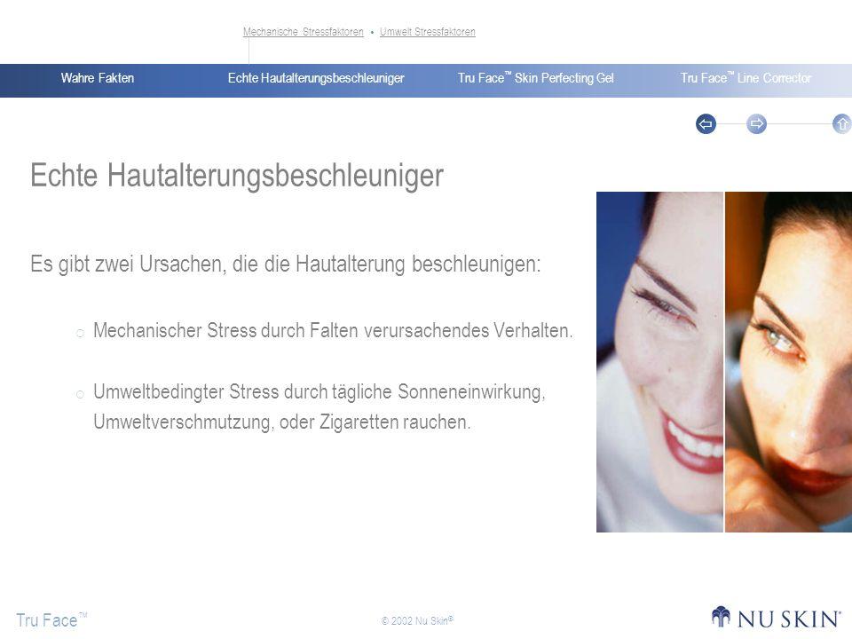 Echte HautalterungsbeschleunigerWahre FaktenTru Face Skin Perfecting GelTru Face Line Corrector Tru Face © 2002 Nu Skin ® Mechanische StressfaktorenMe
