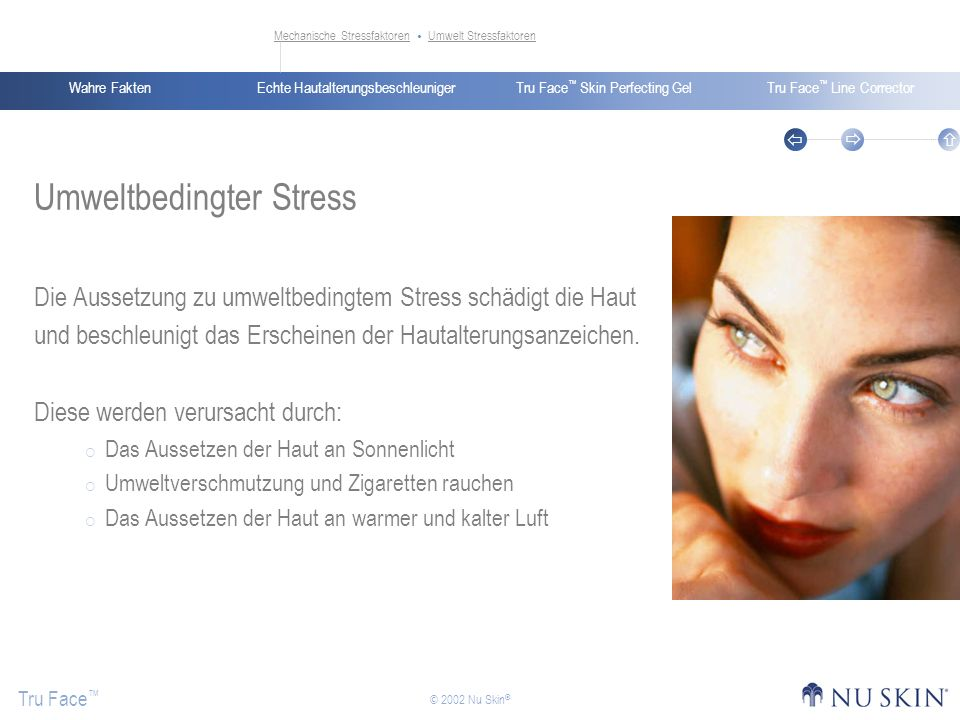 Echte HautalterungsbeschleunigerWahre FaktenTru Face Skin Perfecting GelTru Face Line Corrector Tru Face © 2002 Nu Skin ® Umweltbedingter Stress Die A