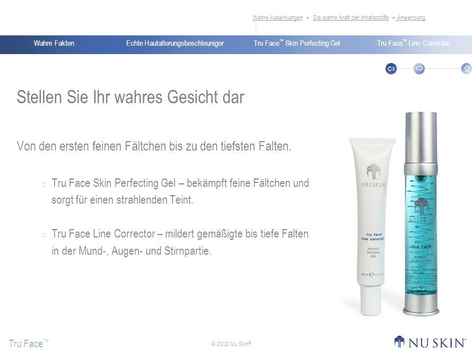 Echte HautalterungsbeschleunigerWahre FaktenTru Face Skin Perfecting GelTru Face Line Corrector Tru Face © 2002 Nu Skin ® Stellen Sie Ihr wahres Gesic