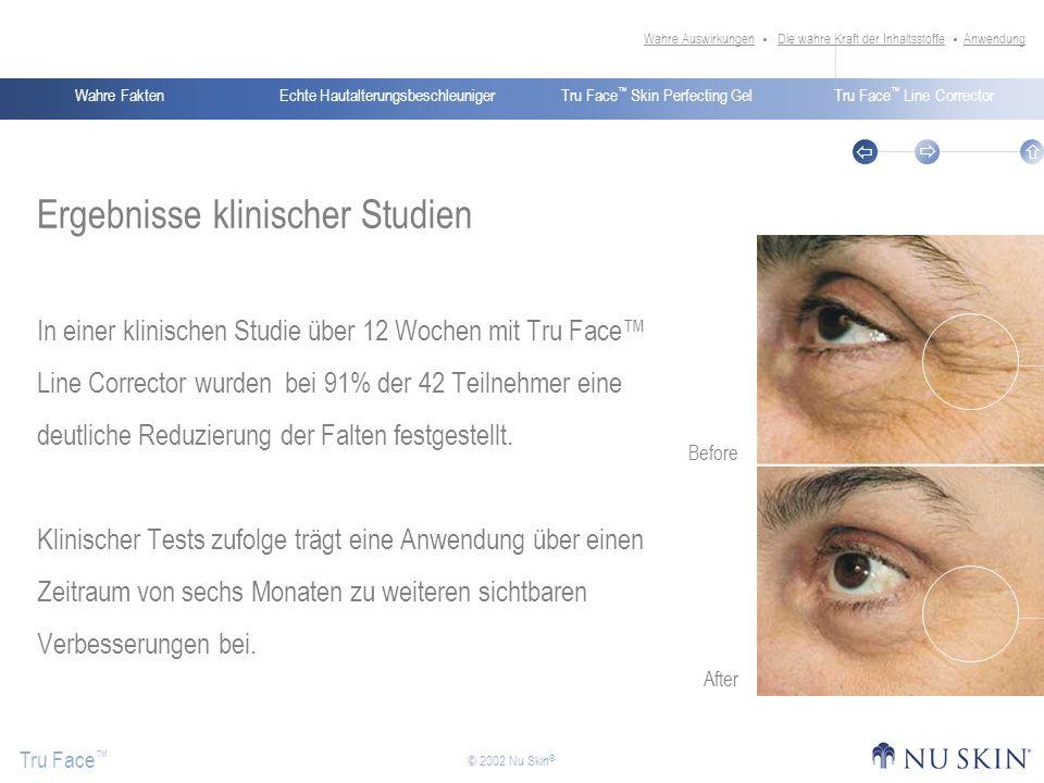 Echte HautalterungsbeschleunigerWahre FaktenTru Face Skin Perfecting GelTru Face Line Corrector Tru Face © 2002 Nu Skin ® Ergebnisse klinischer Studie