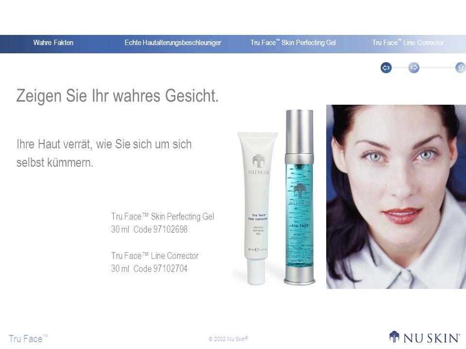 Echte HautalterungsbeschleunigerWahre FaktenTru Face Skin Perfecting GelTru Face Line Corrector Tru Face © 2002 Nu Skin ® Zeigen Sie Ihr wahres Gesich