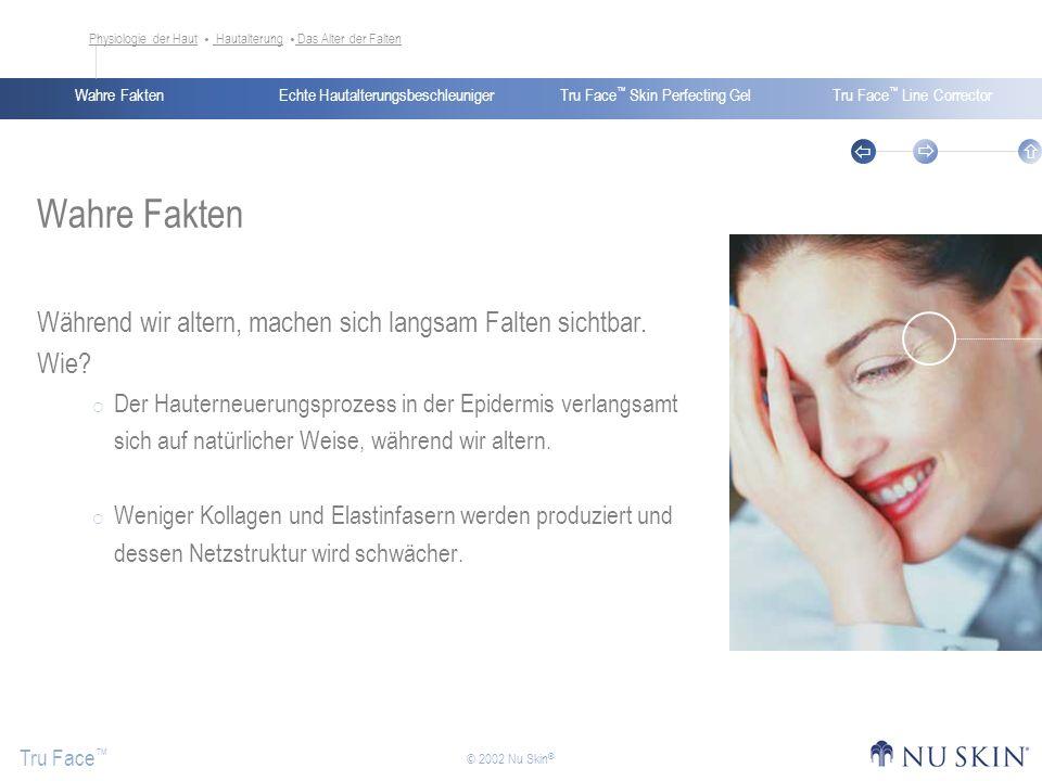 Echte HautalterungsbeschleunigerWahre FaktenTru Face Skin Perfecting GelTru Face Line Corrector Tru Face © 2002 Nu Skin ® Wahre Fakten Während wir alt