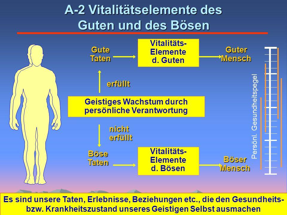 GuteTaten A-2 Vitalitätselemente des Guten und des Bösen Geistiges Wachstum durch persönliche Verantwortung Vitalitäts- Elemente d. Guten Guter Mensch