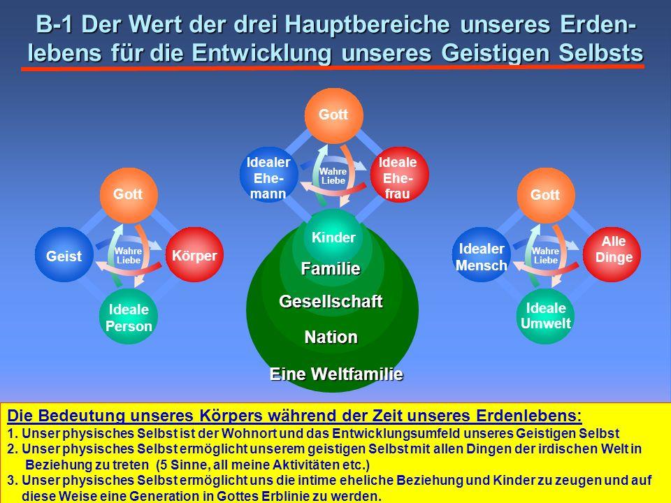 Gesellschaft Nation Eine Weltfamilie B-1 Der Wert der drei Hauptbereiche unseres Erden- lebens für die Entwicklung unseres Geistigen Selbsts Wahre Lie
