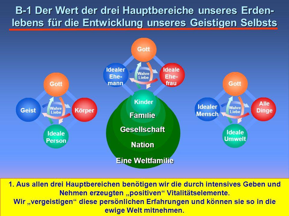 Familie Gesellschaft Nation Eine Weltfamilie B-1 Der Wert der drei Hauptbereiche unseres Erden- lebens für die Entwicklung unseres Geistigen Selbsts W