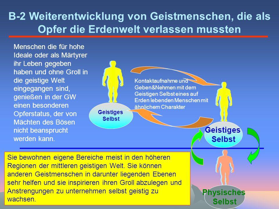 Geistiges Selbst Physisches Selbst Geistiges Selbst B-2 Weiterentwicklung von Geistmenschen, die als Opfer die Erdenwelt verlassen mussten Kontaktaufn