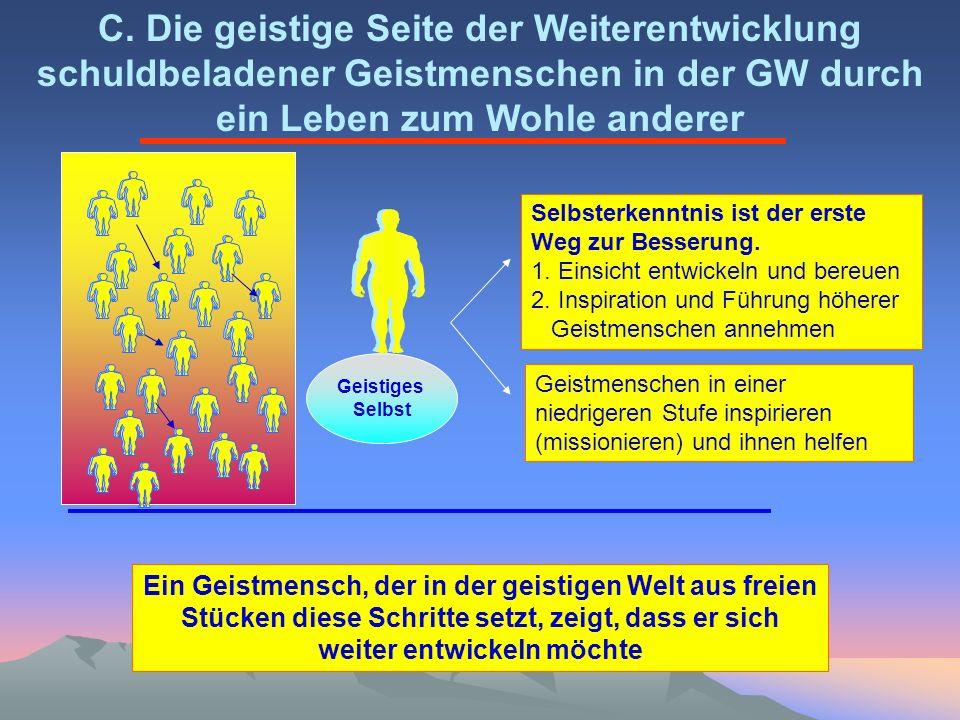 Geistiges Selbst C. Die geistige Seite der Weiterentwicklung schuldbeladener Geistmenschen in der GW durch ein Leben zum Wohle anderer Selbsterkenntni