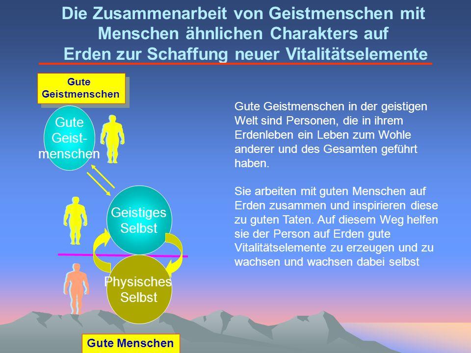 Gute Menschen Gute Geistmenschen Geistiges Selbst Physisches Selbst Gute Geist- menschen Die Zusammenarbeit von Geistmenschen mit Menschen ähnlichen C