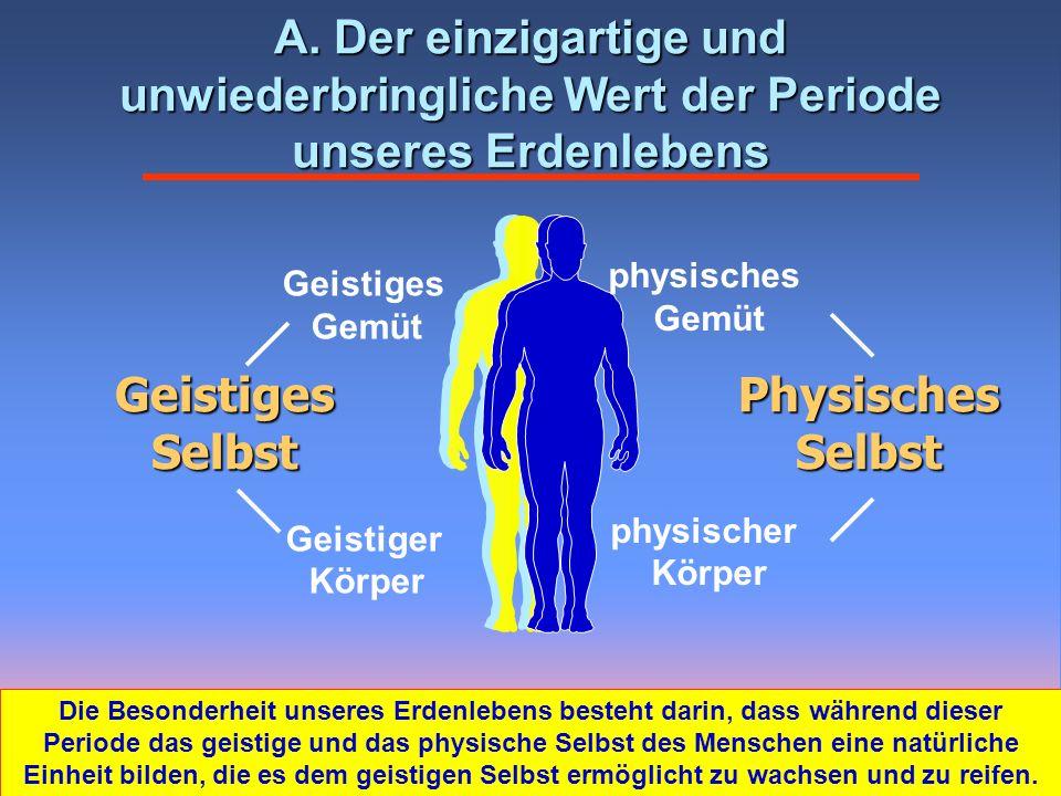 Physisches Selbst Geistiges Selbst Geistiges Gemüt Geistiger Körper physisches Gemüt physischer Körper A. Der einzigartige und unwiederbringliche Wert